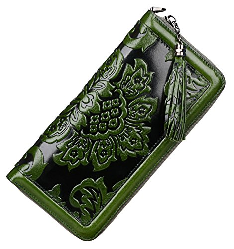 PIJUSHI Leather Wallets for Women Floral Wristlet Wallet Card Holder Purse (91853 Green)