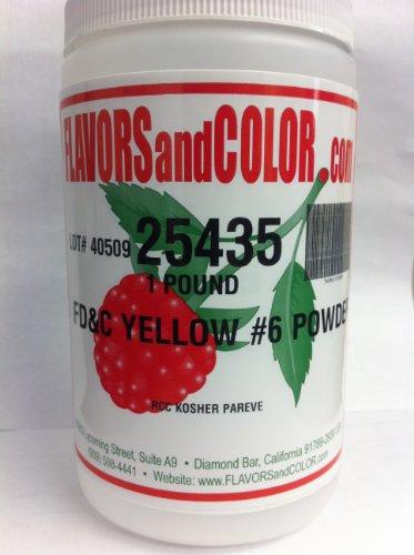 FD&C Yellow #6 Powder 454 Grams by FLAVORSandCOLOR.com