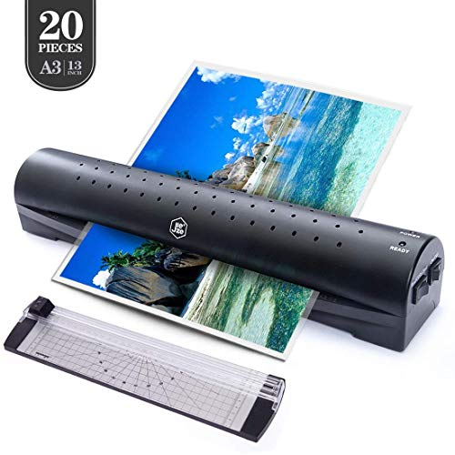 13 inches Laminator Machine, JIEZE A3 Laminator with 20 Laminating Pouches, Paper Cutter, Rapid 3 Minute, for Home and Office Use, Laminate for A3,A4,A5,A6, Black (Scotch Thermal Laminator 2 Roller System Tl901 Reviews)