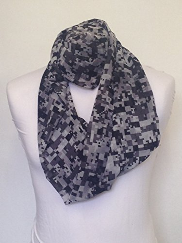 Digital Camouflage Black & White design Infinity Scarf Jersey OR Chiffon Unisex Printed Loop Fashion Scarves