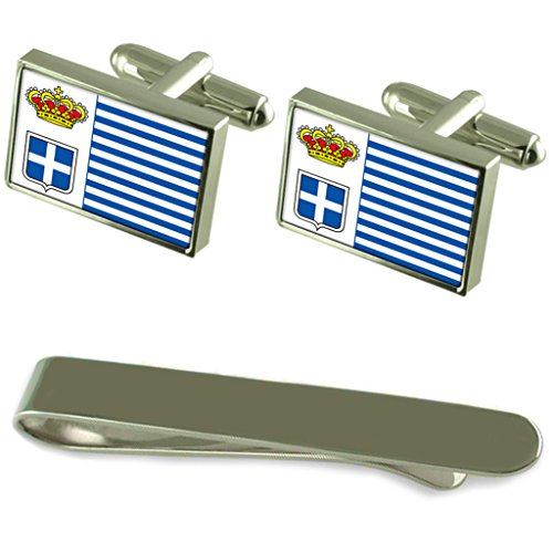 Seborga Flag Silver Cufflinks Tie Clip Engraved Gift Set by Select Gifts