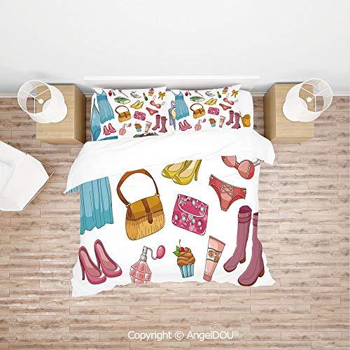 PUTIEN Modern Cotton Bedding 4 Pieces Set Duvet Cover Set,Fashionable Girlish Items Cartoon Style Cosmetics Boots Cupcakes Lipstick Decorative,Soft Microfiber Duvet Cover Set.