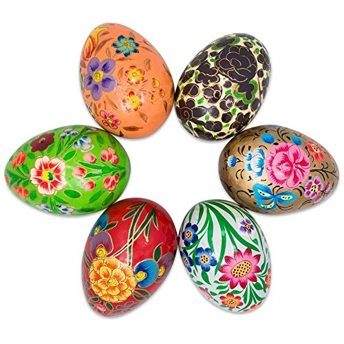 BestPysanky Set of 6 Garden Flowers Bouquet Ukrainian Wooden Easter Eggs