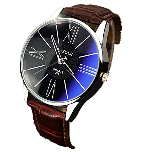 Mens Luxury Wristwatch,Napoo Fashion Leather Band Blue Ray Glass Quartz Analog Watches - Shape For Glasses Choose Face