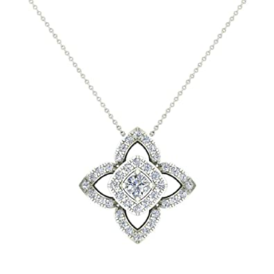 026d4107f792da 0.90 ct Floral motif Halo Diamond Necklace Pendant 14K White Gold (P0206)