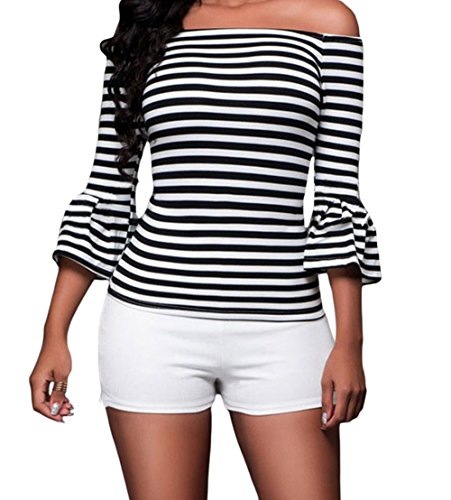 [YeeATZ Black White Stripes Off-the-shoulder Top(Size,L)] (Tigger Carrot Costume)