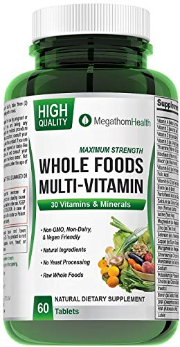 Raw Foods Vegan Multivitamins for Women and Men - Non-GMO, Gluten-Free Whole Food Multivitamins - 30 Natural Vitamins and Minerals - Have More Energy and Feel Good - 60 Tablets