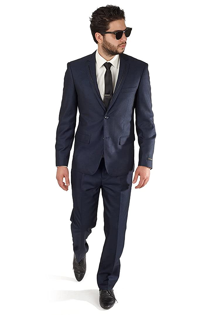 AZAR MAN Slim Fit Navy Blue Tuxedo Fashion Suit with Modern Black Trim Notch Lapel by