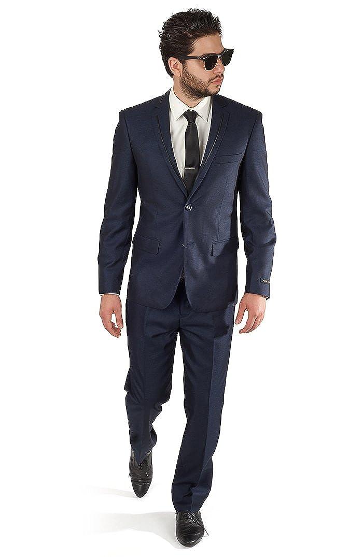 AZAR MAN Slim Fit Navy Blue Tuxedo Fashion Suit with Modern Black Trim Notch Lapel by