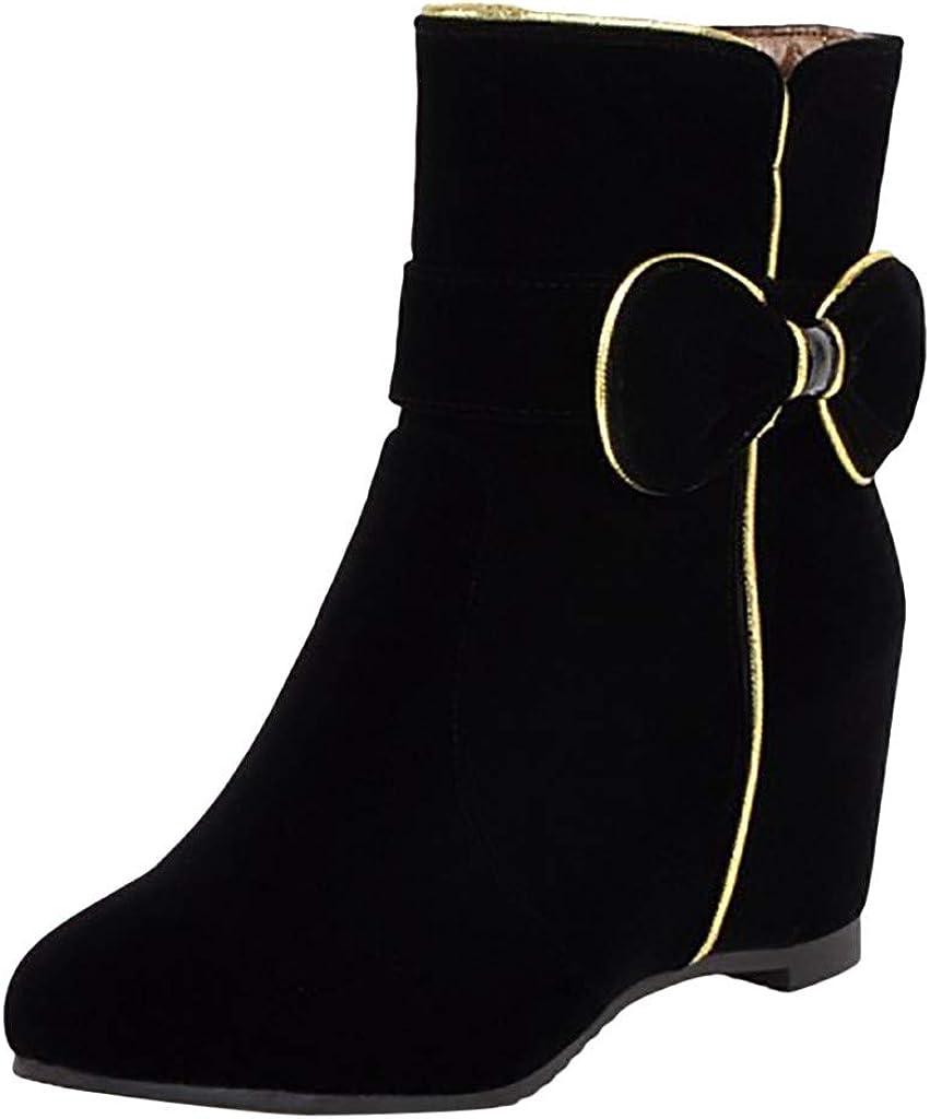 ❤Kauneus❤ Womens Bowknot Trend Fashion Boots Suede Hidden Wedges Zipper Mid Calf Boot Ankle Booties