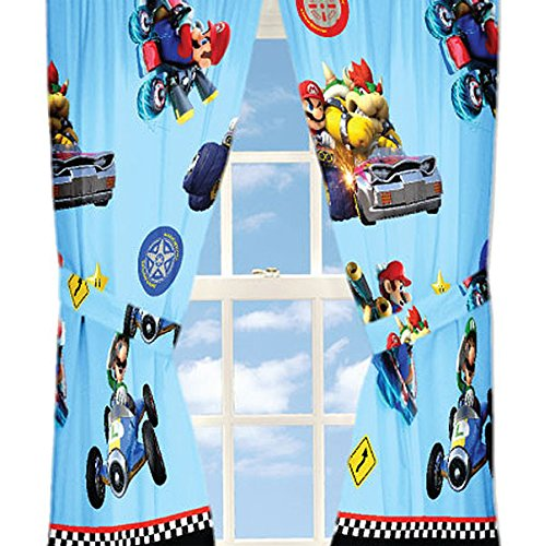 4pc Nintendo Super Mario Kart Curtain Set Road Rumble Racing Window Panels and Tie-Backs For Sale