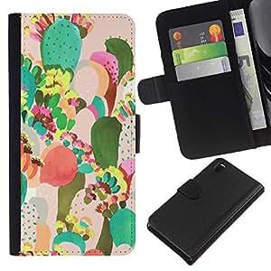 Pintura colorida Art México- la tarjeta de Crédito Slots PU Funda de cuero Monedero caso cubierta de piel Para Sony Xperia Z3 D6603