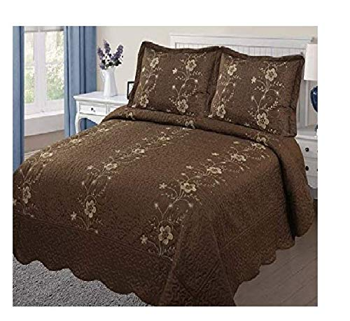 Golden Linens Over Size 3 pieces Solid Color Embroidery Floral Design Quilt Bedspread Coverlet Set With Two Pillow Shams (Full, Chocolate)