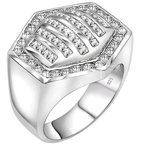 Sterling Manufacturers Beautiful Hexagonal Ring for Men, 925 Sterling Silver Jewelry Featuring 64 Round and Baguette Cubic Zirconia Stones, Platinum Plated