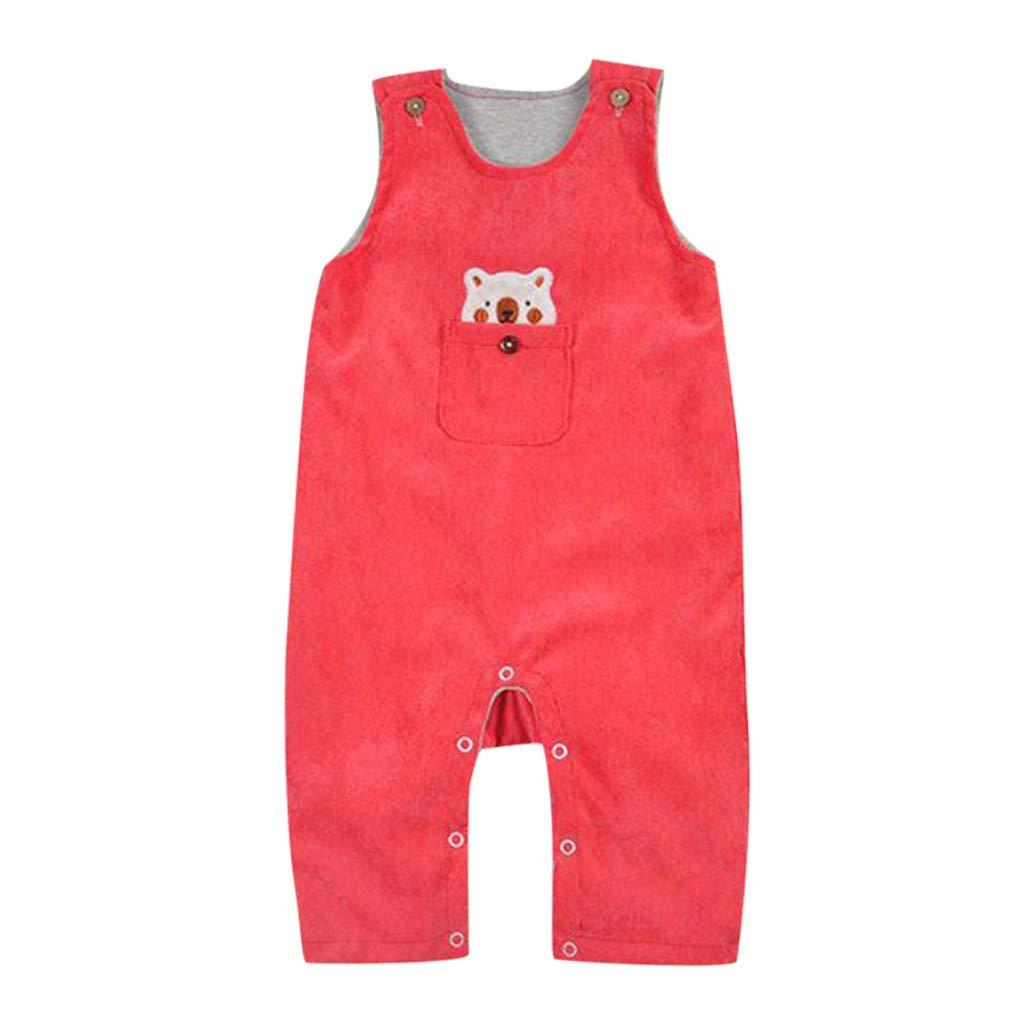 Luonita Toddlers Infant Baby Kids Cartoon Bear Pattern Romper Suspenders Outfits Jumpsuit Orange
