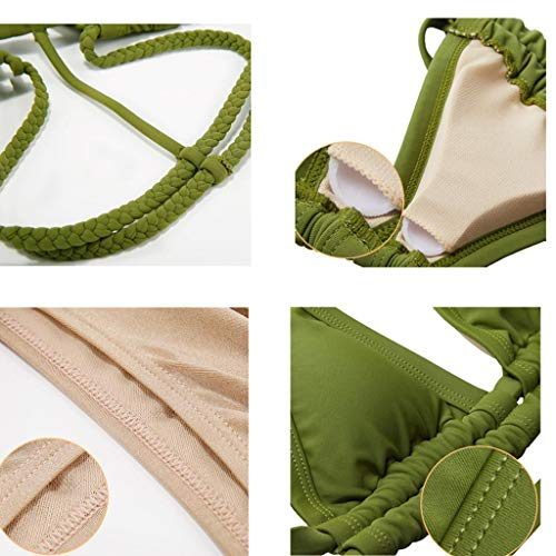 Bagno colore colore Bordo Dimensioni Green S Verde Diviso A Con Zxcc Sexy Green Da Donna Costume Triangolo qW7HvE