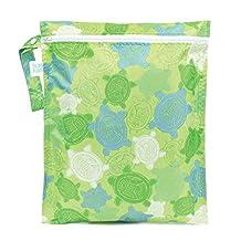 Bumkins Waterproof Zippered Wet Bag, Turtle, Green, 1-Pack