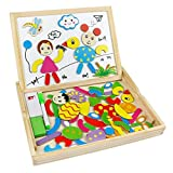Wooden Drawing Board Jigsaw Puzzles Games Double Sided Magnetic Board for Montessori Preschool Kids Toy 3 4 5 Years Old