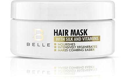 Mascarilla de pelo Belle® con seda y vitaminas, acondicionador de reparación profunda para cabello