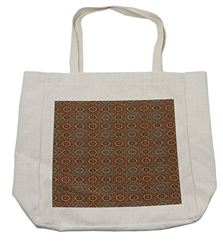 Lunarable Ethnic Shopping Bag, Middle Eastern Arabian Style Ottoman Flower Scroll Turkish Old Fashioned Bohemian, Eco-Friendly Reusable Bag for Groceries Beach Travel School & More, Cream by Lunarable