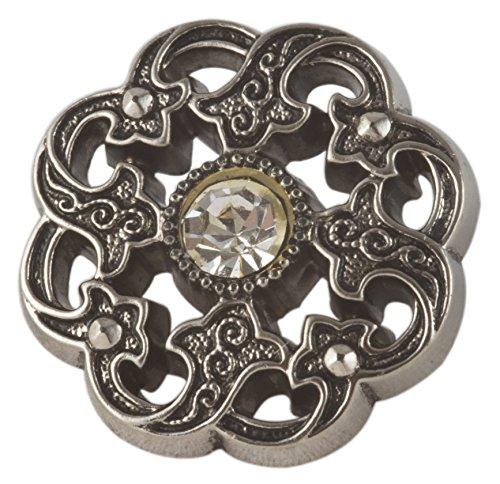 Keepsake Button, Antique Silver Finish with Diamond Like Stone -
