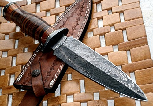 Poshland RAM-0592 Damascus Steel Dagger Knife - Full Size Leather Handle
