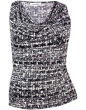 Women's Plus Calvin Klein Drape Neck Print Blouse