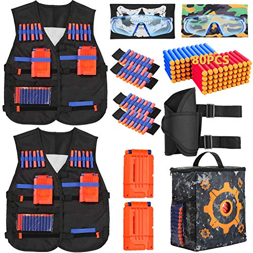 PINKULL 2 Pack Tactical Vest Kit for Nerf Guns N-Strike Elite Series - Perfect Nerf Gun Accessories for Kids and Adult (A)