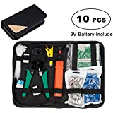 Network Tool Kit, Lysignal 11 in 1 Professional Portable Ethernet Computer Maintenance LAN Cable Tester Repair Set for RJ45 RJ11 Cat5e Cat 6 Cable Crimper 324B Wire Cutter Internet Toolbox