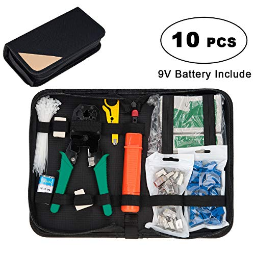 Network Tool Kit, Lysignal 11 in 1 Professional Portable Ethernet Computer Maintenance LAN Cable Tester Repair Set for RJ45 RJ11 Cat5e Cat 6 Cable Crimper 324B Wire Cutter Internet Toolbox from COVVY