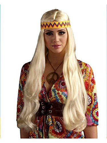 Forum Novelties Women's 60's Generation Hippie Chick Costume Wig with Headband, Blonde, One Size
