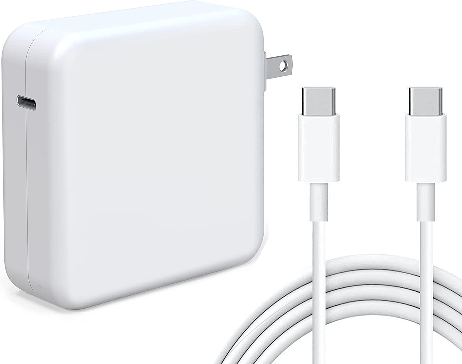 Tissyee 87W USB C Power Adapter, Compatible with MacBook Pro Charger 13 15 16 inch 2020 2019 2018 Works with USB C 87W 61W PD Power Charger, Included USB-C to USB-C Charge Cable (6.6ft/2m)