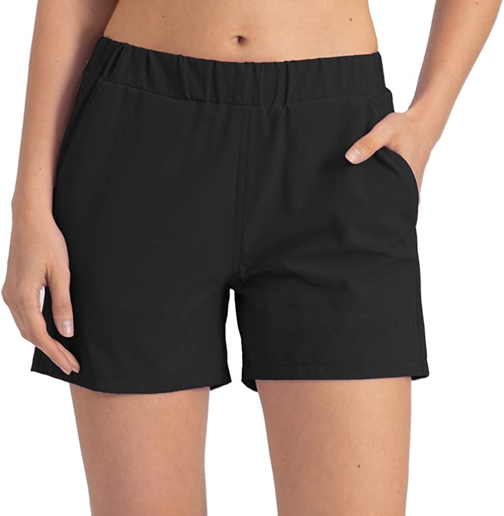 REYSHIONWA Women's Active Workout Running Shorts 4in Quick Dry Athletic Yoga Shorts with Phone Pocket