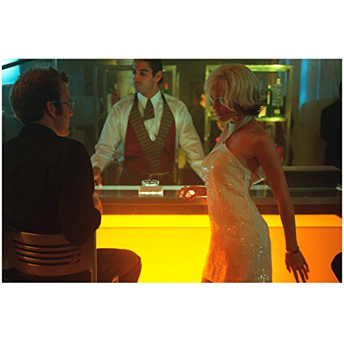 Alias 8 inch x 10 inch PHOTOGRAPH Sydney Blonde Short Bob Wig White Strapless Sequinned Short Dress Talking to Man in Black Suit at Bar Bartender in Background (Mens Suits Sydney)