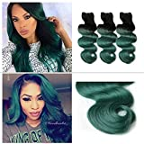 SuperWigy Brazilian virgin hair Grade 6A 3Pcs/Lots TOTAL 150G Rosa Beauty Hair Products Ombre 1b T green Brazilian Human Hair Weaves Wavy Ombre Hair Extensions