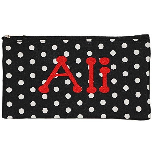 Personalized Black with White Polka Dot Cosmetic Pouch Pencil Bag -