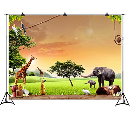 African Safari Animal Themed Birthday Party Backdrop Tropical Prairie Photography Background 7x5ft African Jungle Themed Party Decorations -