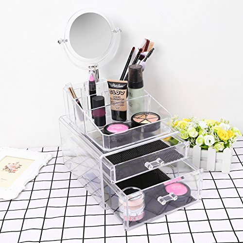Mini Makeup Train Case with Mirror & 2 Trays Jewelry Box Only $14.99