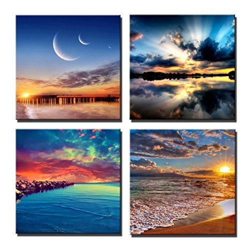 Yin Art 4-Panel Canvas Print Wall Art Set - Sunrise and Sunset on Sea Giclee Canvas Prints Modern Crescent Moon Art 4 Panels for Home (Waterfront Art Set)