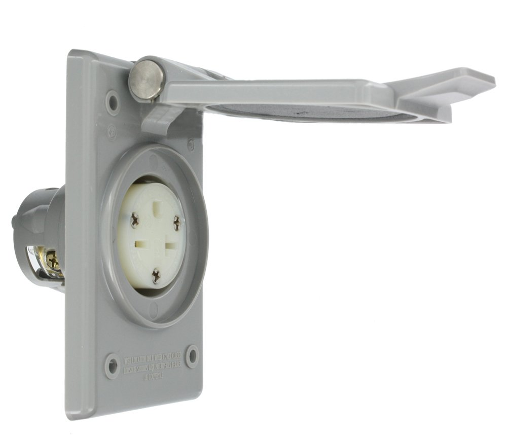 Leviton 5479-CWP 20 Amp, 250 Volt, Power Outlet Receptacle, Straight Blade, Industrial Grade, Grounding, Gray