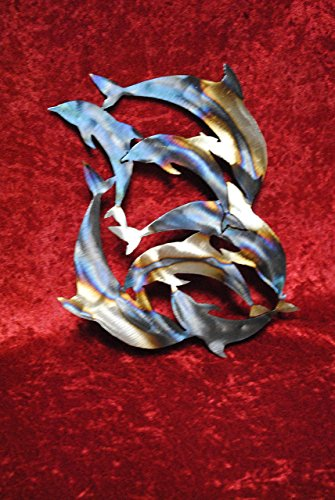 circle-of-dolphins-school-of-dolphins-dolphin-aquatic-art-metal-dolphins-dolphin-art-metal-dolphin-w