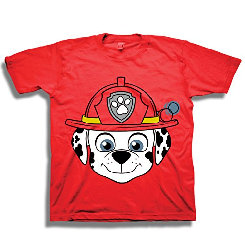 Nickelodeon Little Boys Paw Patrol Big Face Short Sleeve T-Shirt (2T, RED - With Little Faces People