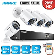 Annke 4CH Security Camera System HD-TVI 1080N Video DVR Recorder with 1TB Hard Drive and (4) HD 1080P Indoor Outdoor Weatherproof CCTV Bullet Cameras with Motion Alert, Smartphone,Easy Remote Access