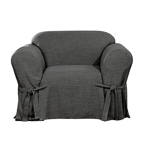 Sure Fit Textured Linen Box Cushion Chair Slipcover - Slate Gray (SF45558)