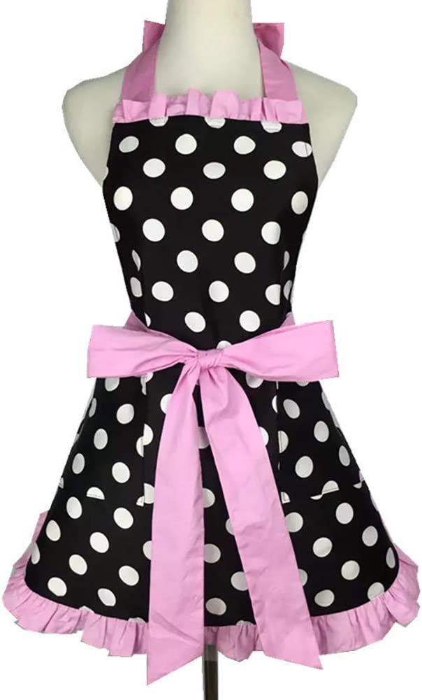 Womens Vintage Apron,Lovely Retro Cotton Polka Dot Cooking Kitchen Working Adjustable Apron with Pockets Mother's Gift(Pink)
