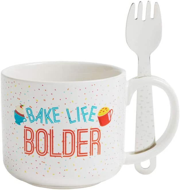 Gemma's Mug Meals Mugs from Bigger Bolder Baking – Mug and Spork Set and Mug Meals Recipes – Microwave Safe for Making Mug Cakes, Mug Soup, Mug Pizza, Mug Brownies And More…