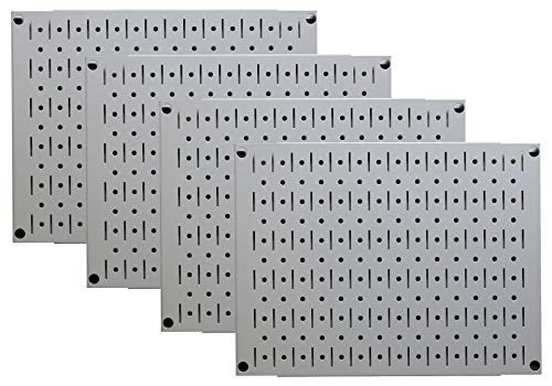 Pegboard Wall Organizer Tiles - Wall Control Modular Grey Metal Pegboard Tiling Set - (4) 12-in Tall x 16-in Wide Gray Peg Board Panel Wall Storage Tiles - Easy to Install (Grey) ()
