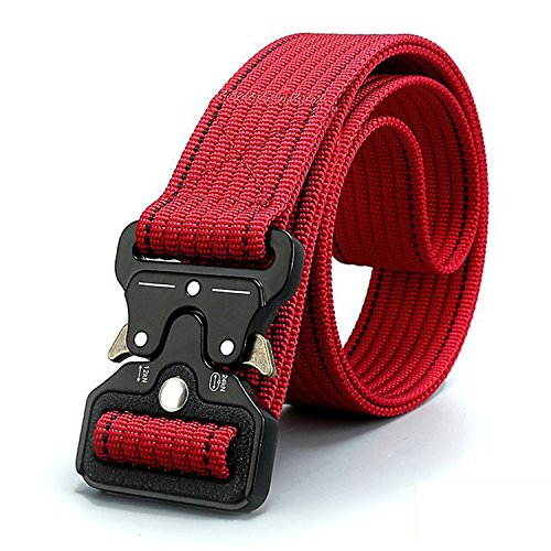 - Women Men's Tactical Belt,Military Style Webbing Riggers Web Belt with Heavy-Duty Quick-Release Alloy Buckle (Red)