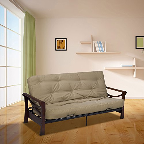 Serta Cypress Double Sided Innerspring Full Futon Mattress, Khaki, Made in the USA