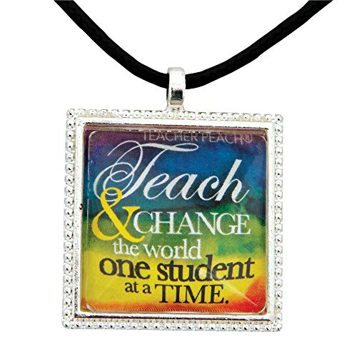Handmade Teacher Necklace with Positive Message Pendant, Heartfelt Teacher Appreciation Jewelry Gift for Women